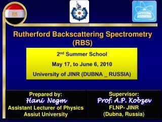 Supervisor: Prof. A.P.  Kobzev FLNP- JINR  ( Dubna , Russia)