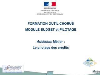 FORMATION OUTIL CHORUS MODULE BUDGET et PILOTAGE Addedum  Métier :  Le pilotage des crédits