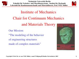 Institute of Mechanics Chair for Continuum Mechanics  and Materials Theory