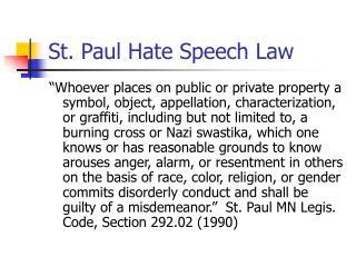 St. Paul Hate Speech Law