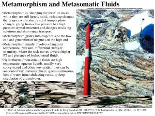 Metamorphism and Metasomatic Fluids