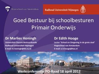 Goed Bestuur bij schoolbesturen Primair Onderwijs