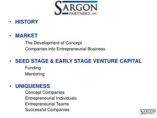 HISTORY MARKET The Development of Concept 		Companies into Entrepreneurial Business