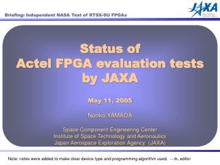 Status of Actel FPGA evaluation tests  by JAXA