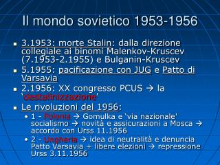 Il mondo sovietico 1953-1956