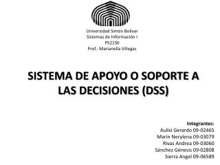 SISTEMA DE APOYO O SOPORTE A LAS DECISIONES (DSS)