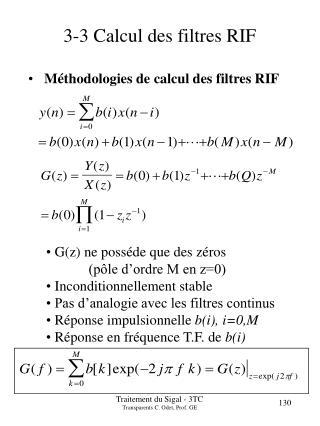 3-3 Calcul des filtres RIF
