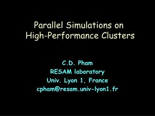 Parallel Simulations on   High-Performance Clusters