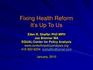 Fixing Health Reform It's Up To Us