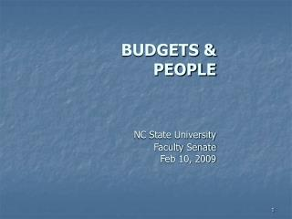 BUDGETS & PEOPLE NC State University Faculty Senate Feb 10, 2009