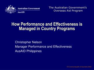 How Performance and Effectiveness is Managed in Country Programs