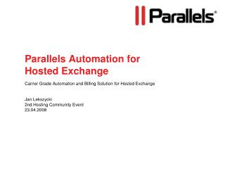 Parallels Automation for Hosted Exchange