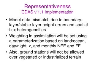 Representativeness CDAS v 1.1 Implementation