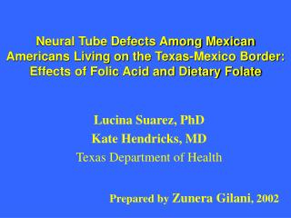 Lucina Suarez, PhD Kate Hendricks, MD Texas Department of Health