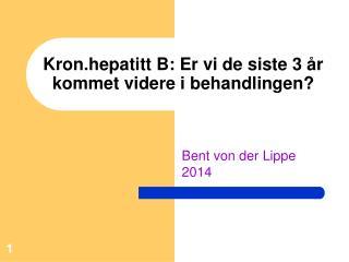 Kron.hepatitt B: Er vi de siste 3 år kommet videre i behandlingen?