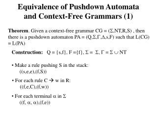 Equivalence of Pushdown Automata and Context-Free Grammars (1)