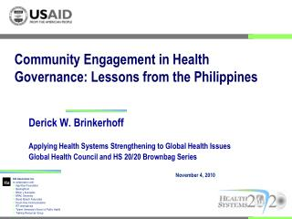 Community Engagement in Health Governance: Lessons from the Philippines