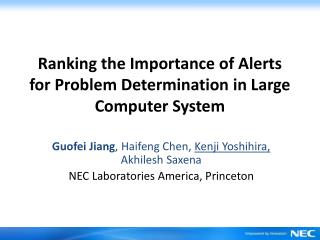 Ranking the Importance of Alerts for Problem Determination in Large Computer System