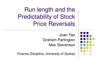 Run length and the Predictability of Stock Price Reversals