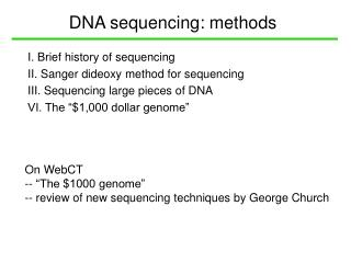 DNA sequencing: methods