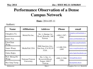Performance Observation of a Dense Campus Network