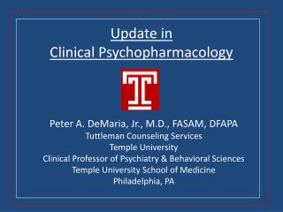 Update in Clinical Psychopharmacology