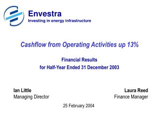 Cashflow from Operating Activities up 13%