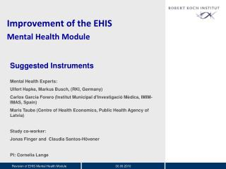 Improvement of the EHIS  Mental Health Module