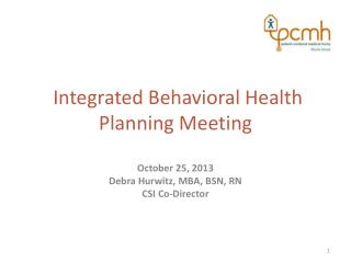 Integrated Behavioral Health Planning Meeting