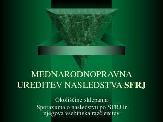 MEDNARODNOPRAVNA UREDITEV NASLEDSTVA  SFRJ