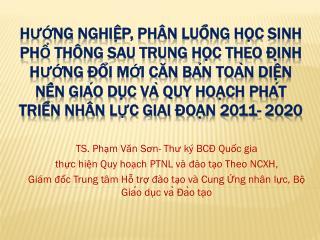 TS. Phạm Văn Sơn- Thư ký BCĐ Quốc gia  thực hiện Quy hoạch PTNL và đào tạo Theo NCXH,