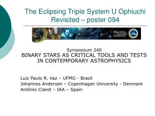 The Eclipsing Triple System U Ophiuchi Revisited – poster 094