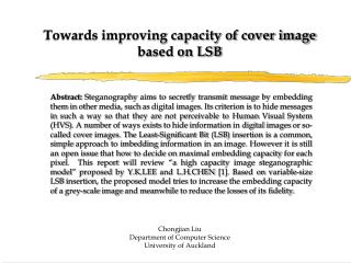 Towards improving capacity of cover image based on LSB
