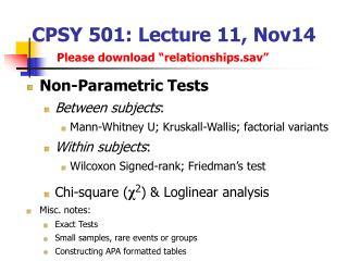CPSY 501: Lecture 11, Nov14