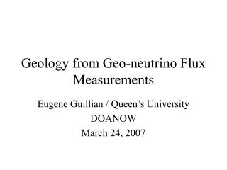 Geology from Geo-neutrino Flux Measurements