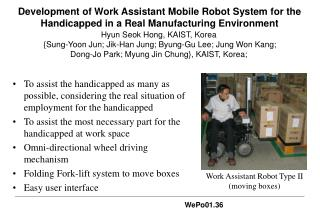 Work Assistant Robot Type II  ( moving boxes )
