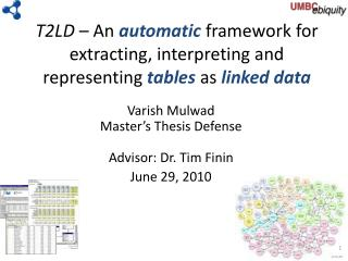Varish Mulwad Master's Thesis Defense Advisor: Dr. Tim  Finin June 29, 2010