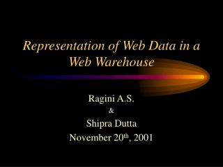 Representation of Web Data in a Web Warehouse