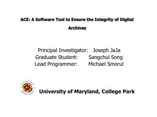 ACE: A Software Tool to Ensure the Integrity of Digital Archives