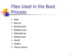 Files Used in the Boot Process
