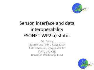 Sensor, interface and data  interoperability ESONET WP2 a) status