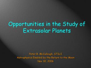 Opportunities in the Study of Extrasolar Planets