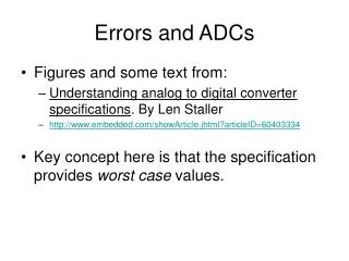 Errors and ADCs