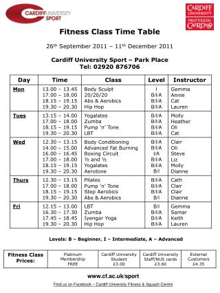 Fitness Class Time Table 26 th  September 2011 – 11 th  December 2011
