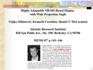 Highly Adaptable MEMS-Based Display  with Wide Projection Angle