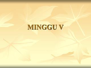 MINGGU V