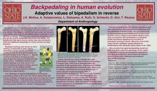 Backpedaling in human evolution Adaptive values of bipedalism in reverse