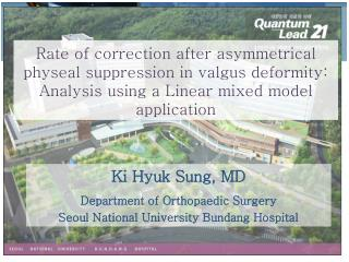 Ki Hyuk Sung, MD Department of Orthopaedic Surgery Seoul National University Bundang Hospital