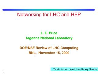 Networking for LHC and HEP