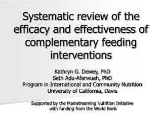 Systematic review of the efficacy and effectiveness of complementary feeding interventions